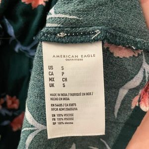 Floral green American eagle top
